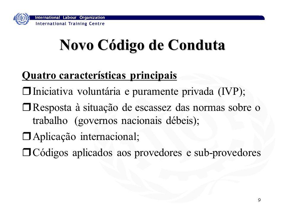 9 Novo Código de Conduta Quatro características principais rIniciativa voluntária e puramente privada (IVP); rResposta à situação de escassez das norm