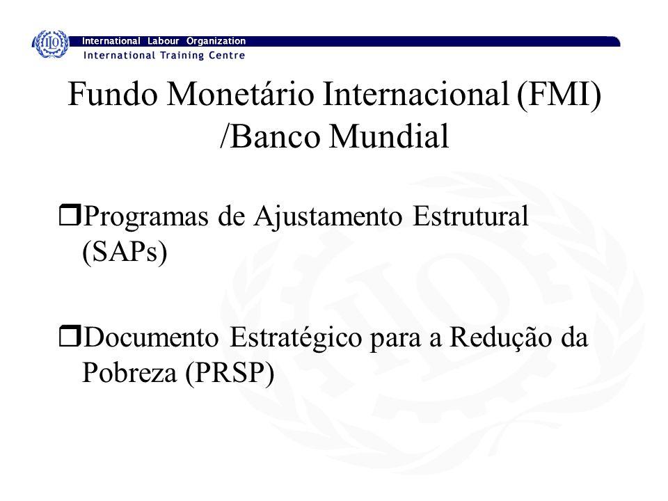 Fundo Monetário Internacional (FMI) /Banco Mundial rProgramas de Ajustamento Estrutural (SAPs) rDocumento Estratégico para a Redução da Pobreza (PRSP)
