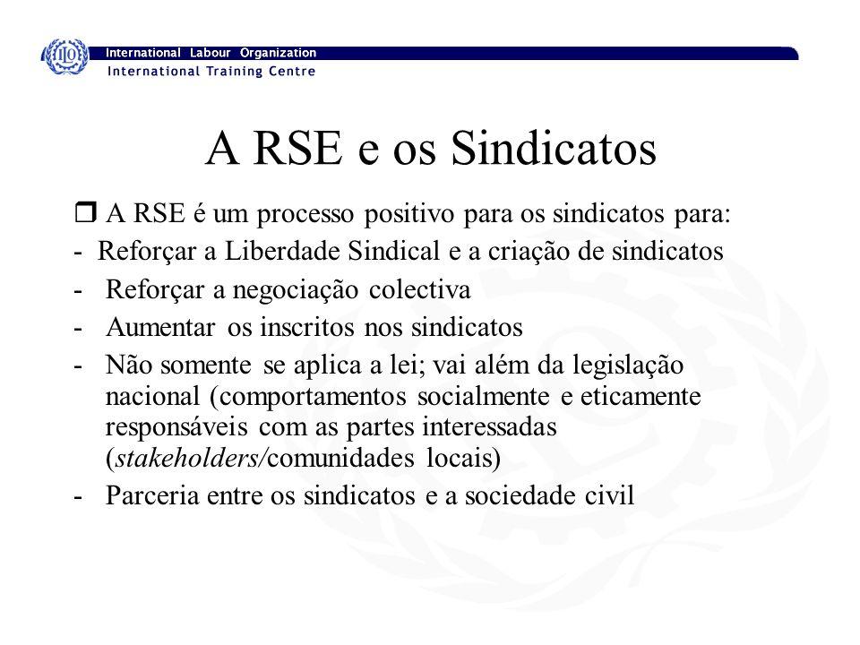A RSE e os Sindicatos rA RSE é um processo positivo para os sindicatos para: - Reforçar a Liberdade Sindical e a criação de sindicatos -Reforçar a neg