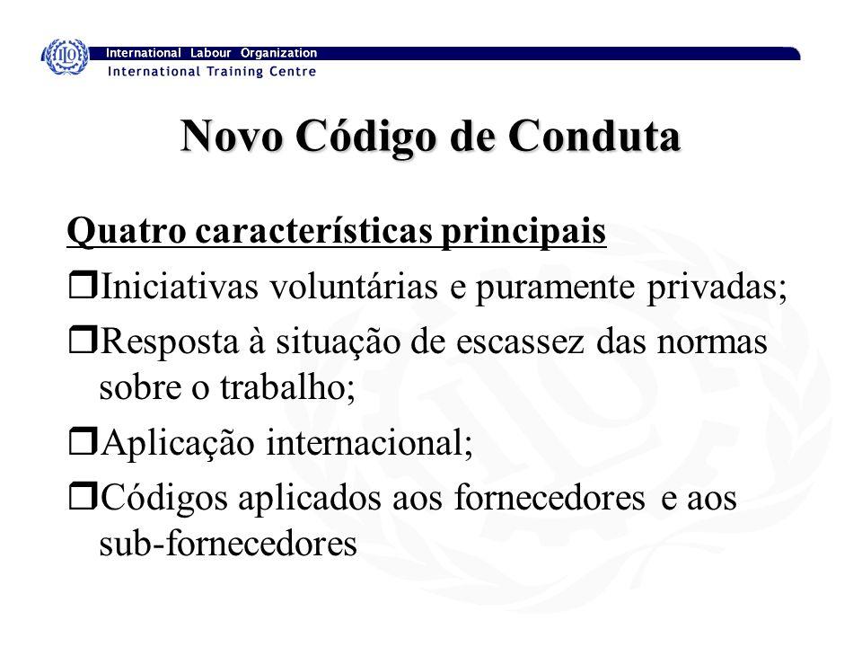 Novo Código de Conduta Quatro características principais rIniciativas voluntárias e puramente privadas; rResposta à situação de escassez das normas so