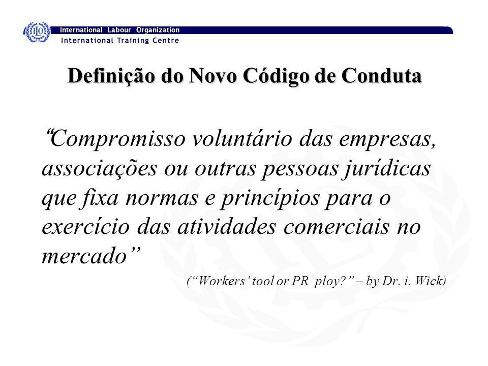 Definição do Novo Código de Conduta Compromisso voluntário das empresas, associações ou outras pessoas jurídicas que fixa normas e princípios para o e