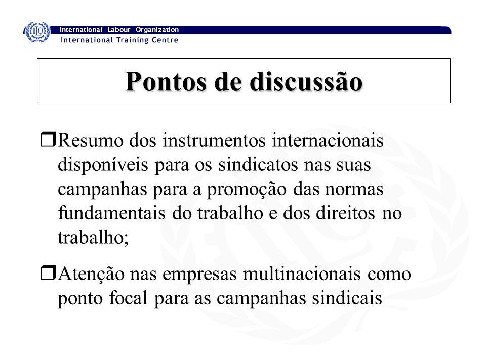 Pontos de discussão rResumo dos instrumentos internacionais disponíveis para os sindicatos nas suas campanhas para a promoção das normas fundamentais