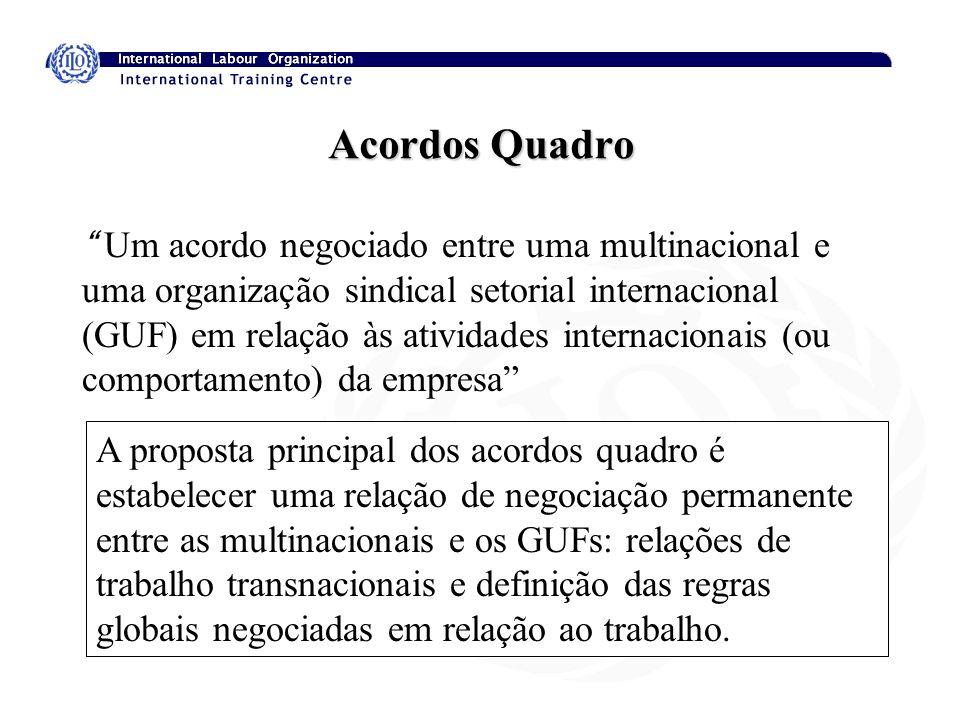 Acordos Quadro Um acordo negociado entre uma multinacional e uma organização sindical setorial internacional (GUF) em relação às atividades internacio