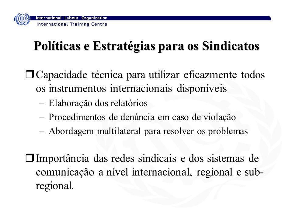 Políticas e Estratégias para os Sindicatos rCapacidade técnica para utilizar eficazmente todos os instrumentos internacionais disponíveis –Elaboração