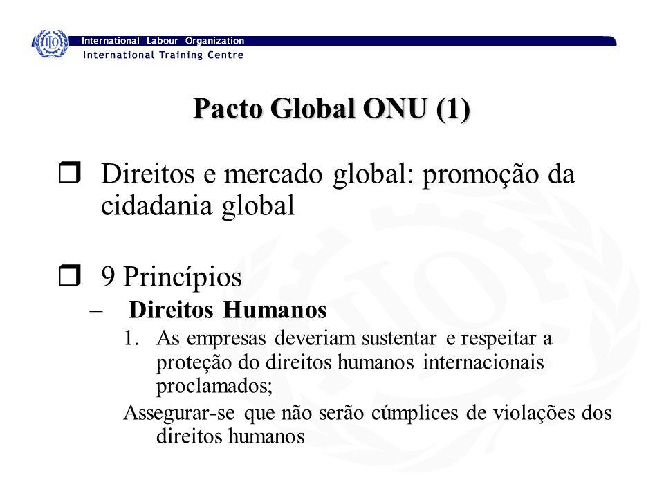 Pacto Global ONU (1) rDireitos e mercado global: promoção da cidadania global r9 Princípios –Direitos Humanos 1.As empresas deveriam sustentar e respe