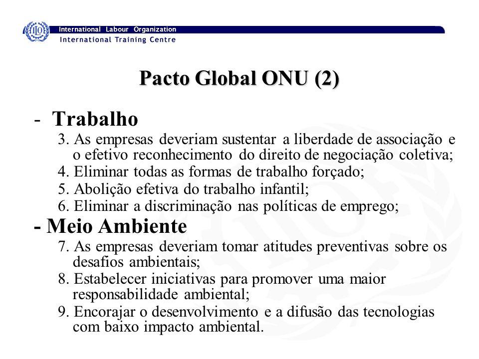 Pacto Global ONU (2) -Trabalho 3. As empresas deveriam sustentar a liberdade de associação e o efetivo reconhecimento do direito de negociação coletiv