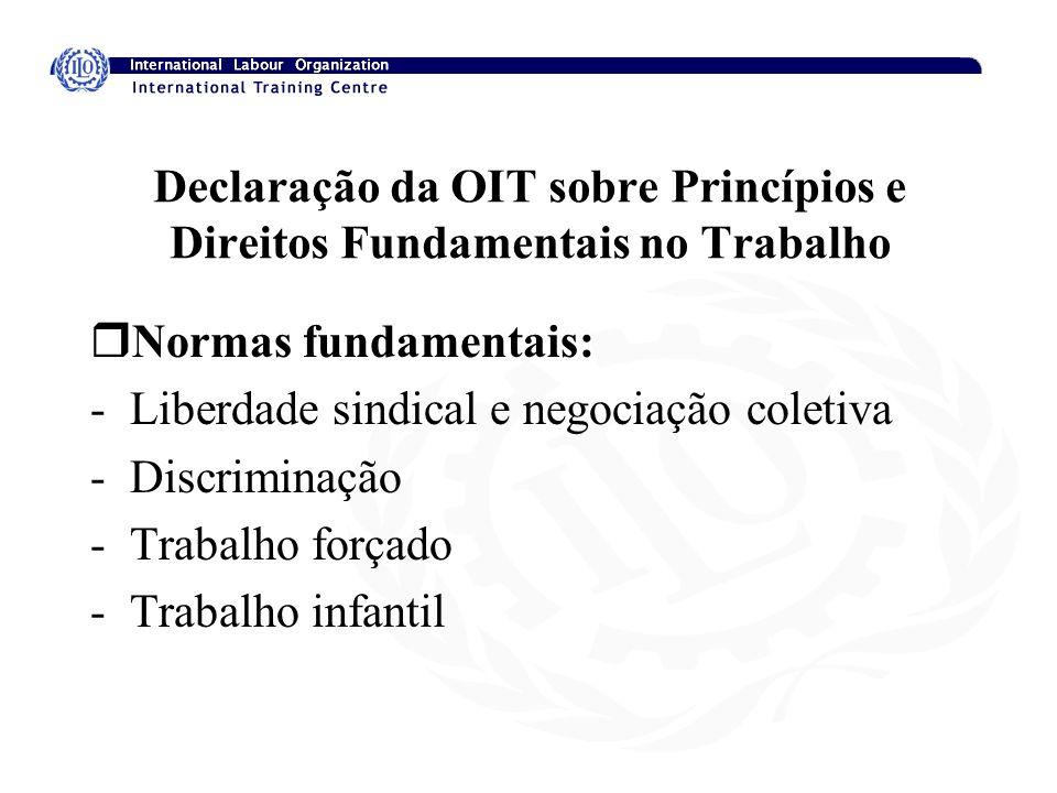 Declaração da OIT sobre Princípios e Direitos Fundamentais no Trabalho rNormas fundamentais: -Liberdade sindical e negociação coletiva -Discriminação