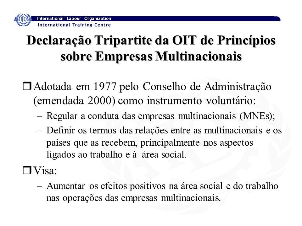 Declaração Tripartite da OIT de Princípios sobre Empresas Multinacionais rAdotada em 1977 pelo Conselho de Administração (emendada 2000) como instrume