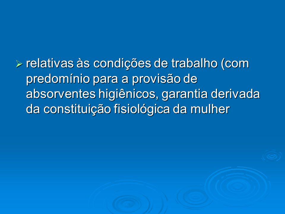 relativas às condições de trabalho (com predomínio para a provisão de absorventes higiênicos, garantia derivada da constituição fisiológica da mulher