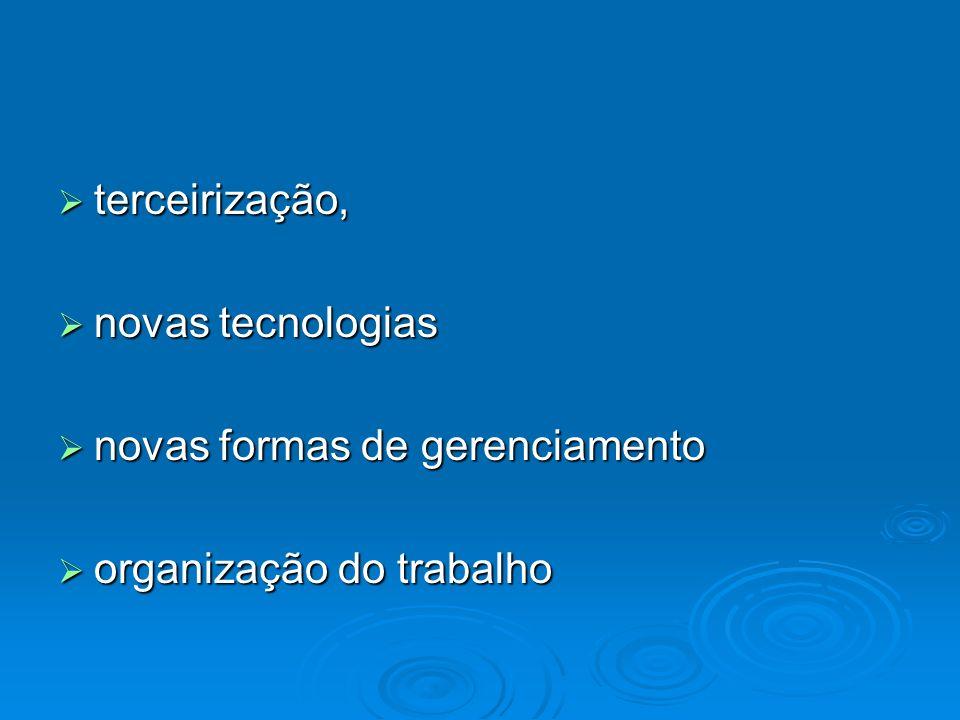 terceirização, terceirização, novas tecnologias novas tecnologias novas formas de gerenciamento novas formas de gerenciamento organização do trabalho