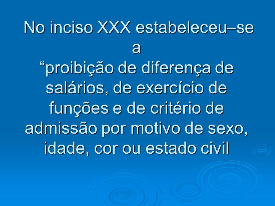 No inciso XXX estabeleceu–se a proibição de diferença de salários, de exercício de funções e de critério de admissão por motivo de sexo, idade, cor ou