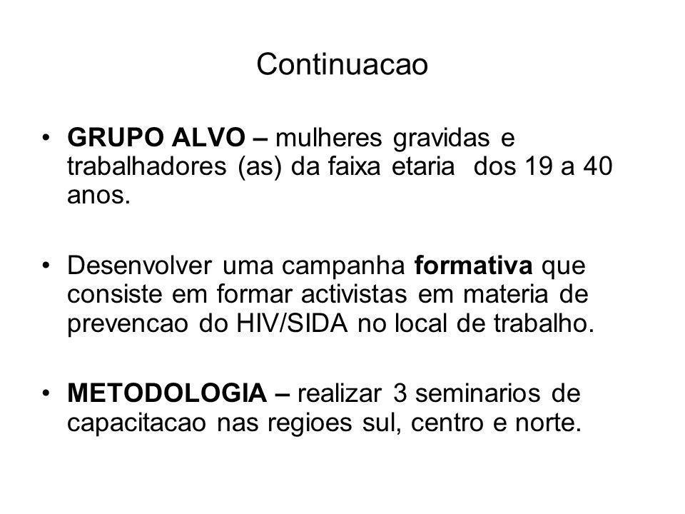 Continuacao GRUPO ALVO – mulheres gravidas e trabalhadores (as) da faixa etaria dos 19 a 40 anos.
