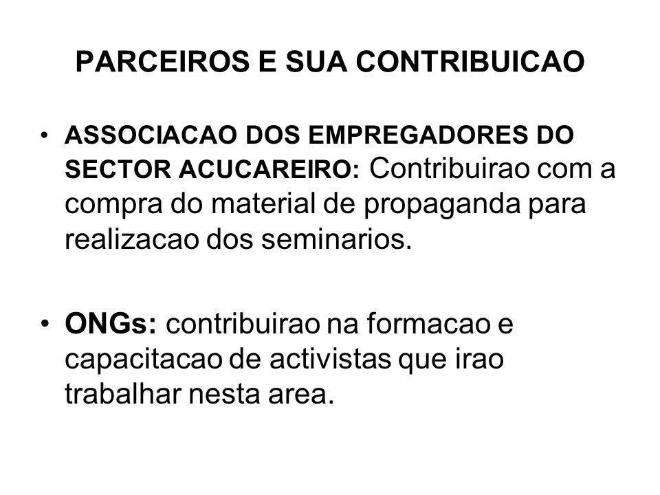 PARCEIROS E SUA CONTRIBUICAO ASSOCIACAO DOS EMPREGADORES DO SECTOR ACUCAREIRO: Contribuirao com a compra do material de propaganda para realizacao dos seminarios.
