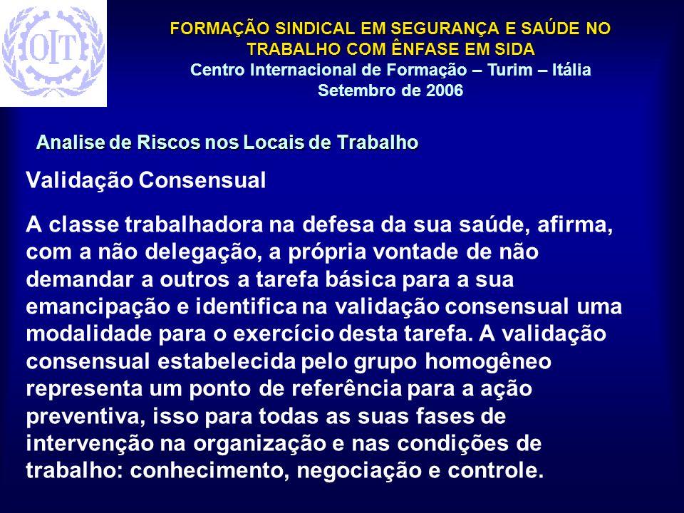 FORMAÇÃO SINDICAL EM SEGURANÇA E SAÚDE NO TRABALHO COM ÊNFASE EM SIDA Centro Internacional de Formação – Turim – Itália Setembro de 2006 Analise de Ri