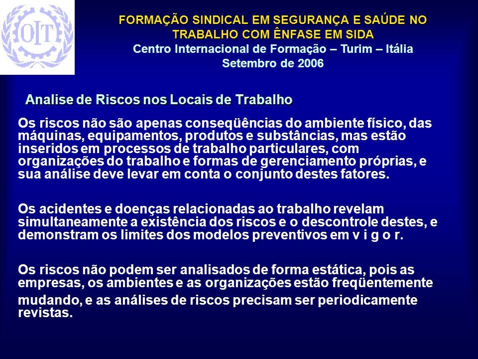 FORMAÇÃO SINDICAL EM SEGURANÇA E SAÚDE NO TRABALHO COM ÊNFASE EM SIDA Centro Internacional de Formação – Turim – Itália Setembro de 2006