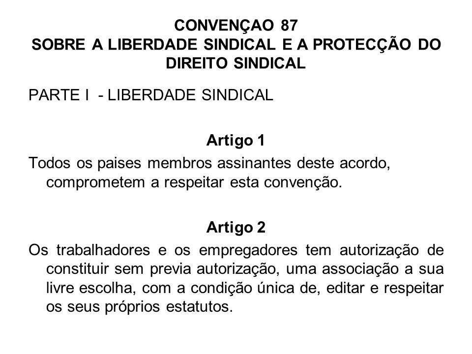 CONVENÇAO 87 (cont.) Artigo 3 1 - As organizações bipartidas tem o direito de eleger com toda a liberdade os seus representantes, criar os seus estatutos e regimentos, e ter uma organização administrativa e fazer um programa de acção.