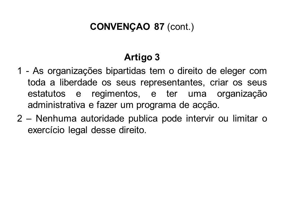 CONVENÇAO 87 (cont.) Artigo 4 Essas duas organizações não podem ser dissolvidas ou suspendidas por qualquer autoridade administrativa.