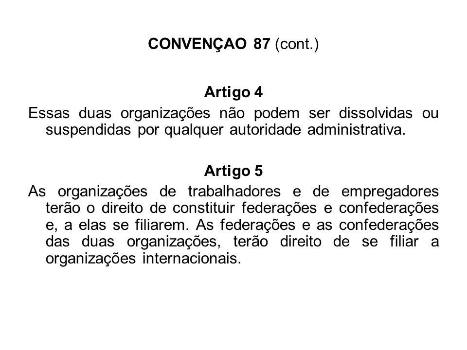 CONVENÇAO 87 (cont.) Artigo 8 1 - A legalidade deve ser observada na colectividade dos trabalhadores e empregadores ao exercerem os seus direitos.
