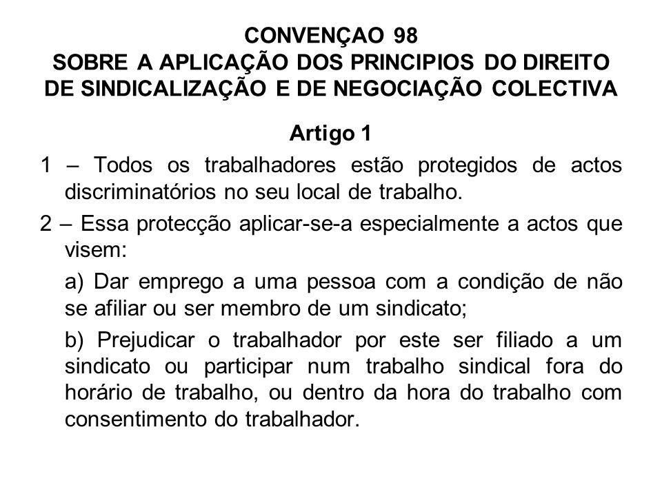 CONVENÇAO 98 (Cont.) Artigo 2 1 - Os trabalhadores e os empregadores gozam de protecção contra actos de ingerência de qualquer membro da Administração.