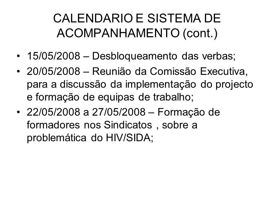 CALENDARIO E SISTEMA DE ACOMPANHAMENTO (cont.) 15/05/2008 – Desbloqueamento das verbas; 20/05/2008 – Reunião da Comissão Executiva, para a discussão da implementação do projecto e formação de equipas de trabalho; 22/05/2008 a 27/05/2008 – Formação de formadores nos Sindicatos, sobre a problemática do HIV/SIDA;