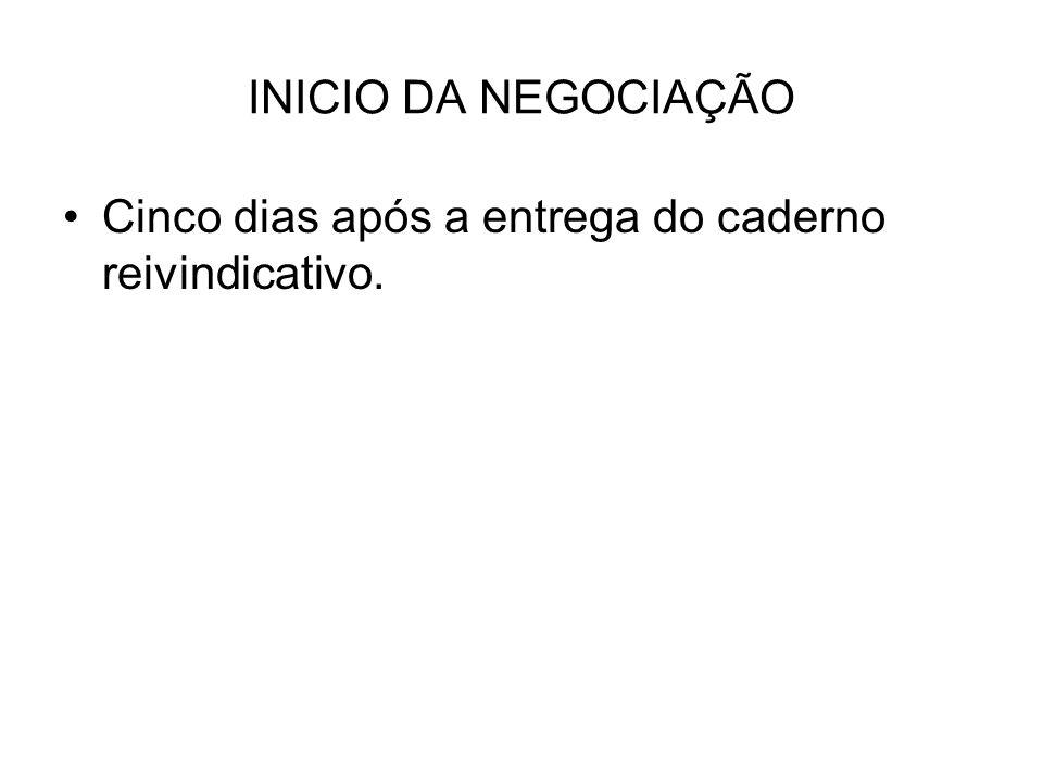 INICIO DA NEGOCIAÇÃO Cinco dias após a entrega do caderno reivindicativo.