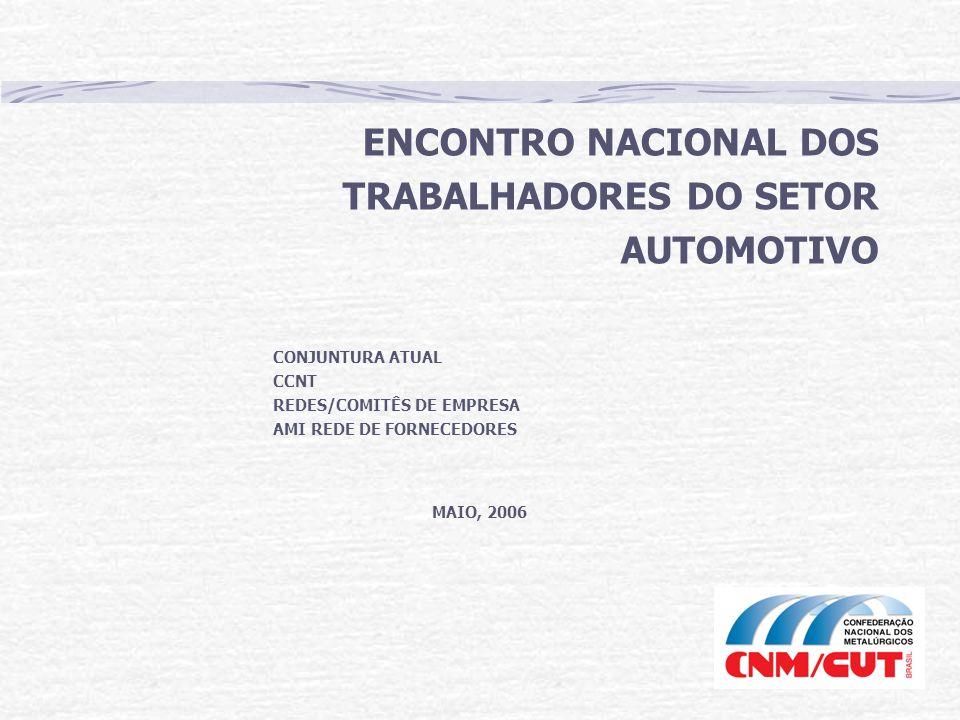 ENCONTRO NACIONAL DOS TRABALHADORES DO SETOR AUTOMOTIVO CONJUNTURA ATUAL CCNT REDES/COMITÊS DE EMPRESA AMI REDE DE FORNECEDORES MAIO, 2006