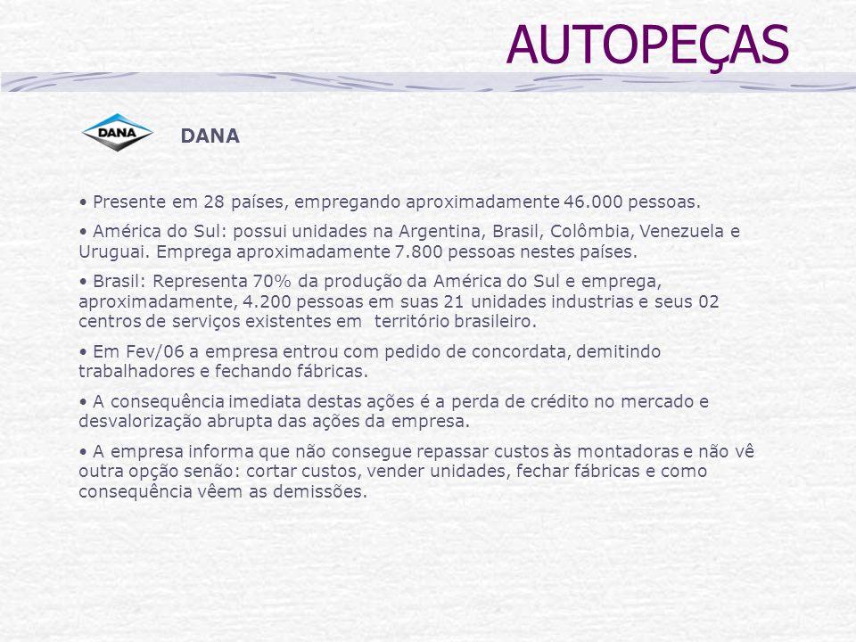 DANA Presente em 28 países, empregando aproximadamente 46.000 pessoas. América do Sul: possui unidades na Argentina, Brasil, Colômbia, Venezuela e Uru