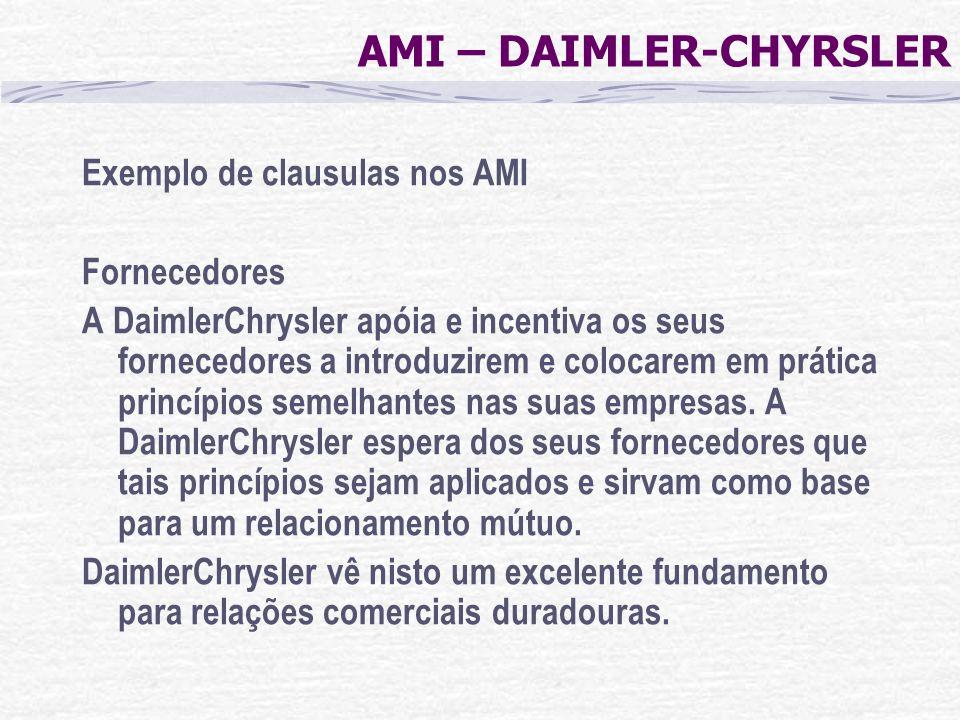 AMI – DAIMLER-CHYRSLER Exemplo de clausulas nos AMI Fornecedores A DaimlerChrysler apóia e incentiva os seus fornecedores a introduzirem e colocarem e