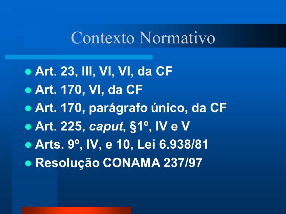 Contexto Normativo Art. 23, III, VI, VI, da CF Art. 170, VI, da CF Art. 170, parágrafo único, da CF Art. 225, caput, §1º, IV e V Arts. 9º, IV, e 10, L