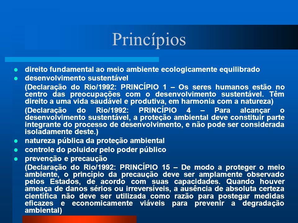 Princípios direito fundamental ao meio ambiente ecologicamente equilibrado desenvolvimento sustentável (Declaração do Rio/1992: PRINCÍPIO 1 – Os seres humanos estão no centro das preocupações com o desenvolvimento sustentável.