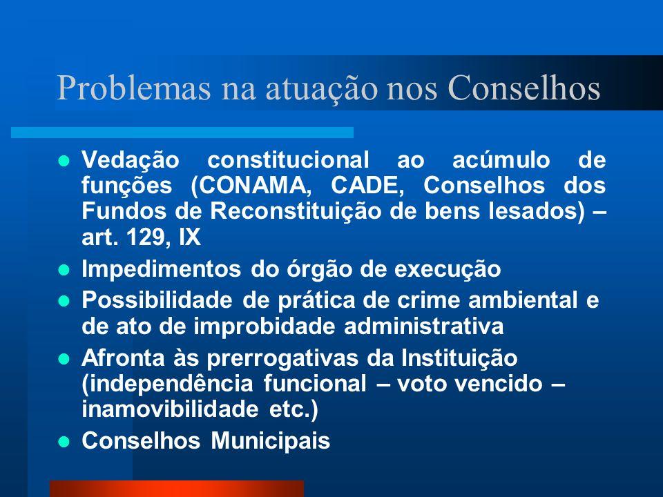 Problemas na atuação nos Conselhos Vedação constitucional ao acúmulo de funções (CONAMA, CADE, Conselhos dos Fundos de Reconstituição de bens lesados)