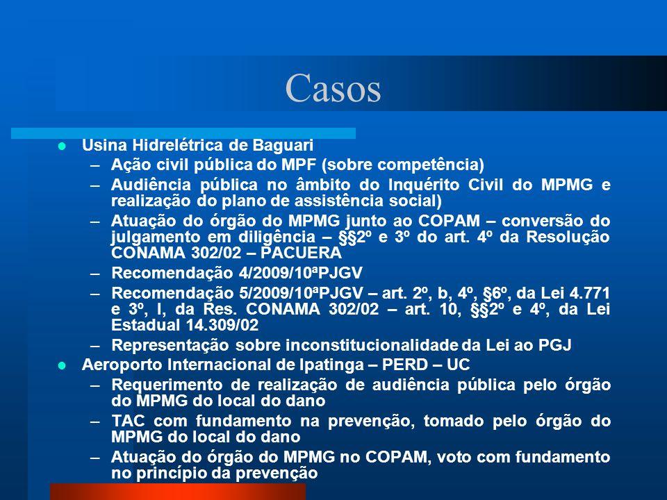 Casos Usina Hidrelétrica de Baguari –Ação civil pública do MPF (sobre competência) –Audiência pública no âmbito do Inquérito Civil do MPMG e realizaçã