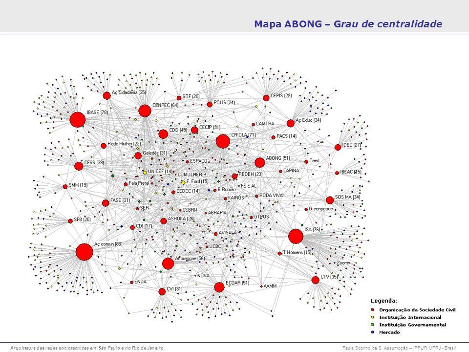 Arquitetura das redes sociotecnicas em São Paulo e no Rio de Janeiro. Paula Sobrino de S. Assumpção – IPPUR/UFRJ - Brasil Mapa ABONG – Grau de central