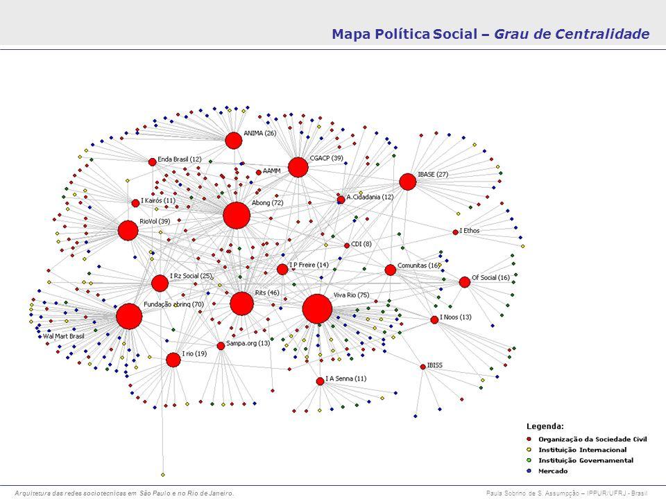 Arquitetura das redes sociotecnicas em São Paulo e no Rio de Janeiro. Paula Sobrino de S. Assumpção – IPPUR/UFRJ - Brasil Mapa Política Social – Grau