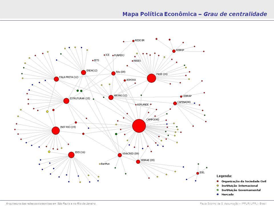 Arquitetura das redes sociotecnicas em São Paulo e no Rio de Janeiro. Paula Sobrino de S. Assumpção – IPPUR/UFRJ - Brasil Mapa Política Econômica – Gr