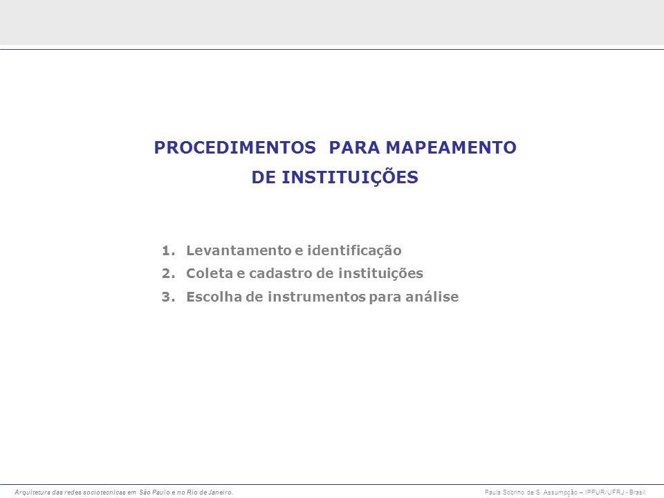 Arquitetura das redes sociotecnicas em São Paulo e no Rio de Janeiro. Paula Sobrino de S. Assumpção – IPPUR/UFRJ - Brasil PROCEDIMENTOS PARA MAPEAMENT