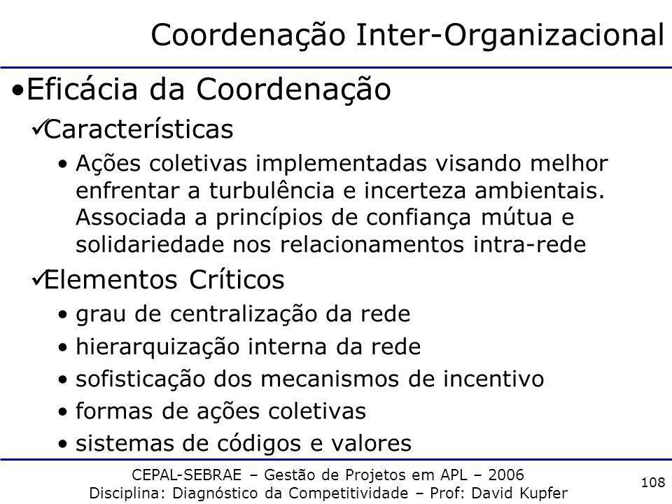 CEPAL-SEBRAE – Gestão de Projetos em APL – 2006 Disciplina: Diagnóstico da Competitividade – Prof: David Kupfer 107 Cooperação técnico-produtiva Flexi
