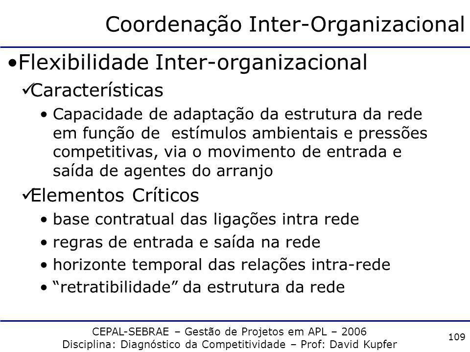CEPAL-SEBRAE – Gestão de Projetos em APL – 2006 Disciplina: Diagnóstico da Competitividade – Prof: David Kupfer 108 Coordenação Inter-Organizacional E