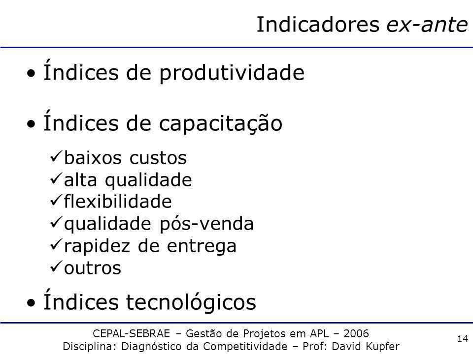 CEPAL-SEBRAE – Gestão de Projetos em APL – 2006 Disciplina: Diagnóstico da Competitividade – Prof: David Kupfer 13 Indicadores ex-ante Índices de preç