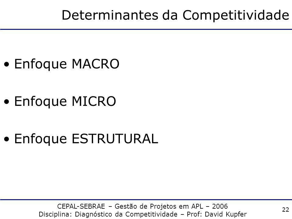 CEPAL-SEBRAE – Gestão de Projetos em APL – 2006 Disciplina: Diagnóstico da Competitividade – Prof: David Kupfer 21 Determinantes da Competitividade Co