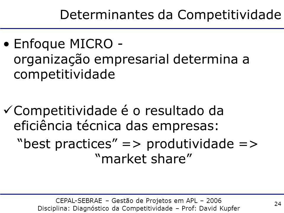 CEPAL-SEBRAE – Gestão de Projetos em APL – 2006 Disciplina: Diagnóstico da Competitividade – Prof: David Kupfer 23 Determinantes da Competitividade En