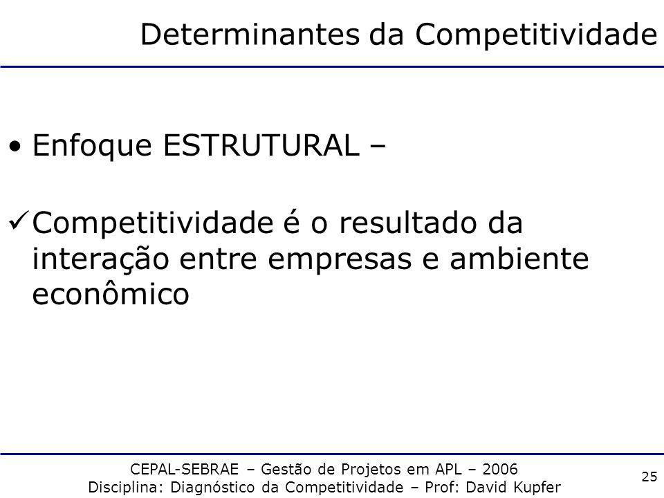 CEPAL-SEBRAE – Gestão de Projetos em APL – 2006 Disciplina: Diagnóstico da Competitividade – Prof: David Kupfer 24 Determinantes da Competitividade En