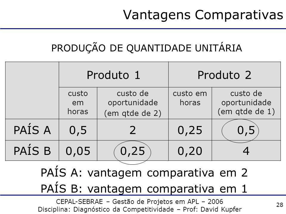 CEPAL-SEBRAE – Gestão de Projetos em APL – 2006 Disciplina: Diagnóstico da Competitividade – Prof: David Kupfer 27 Vantagens Absolutas Produto 1 Qtde/