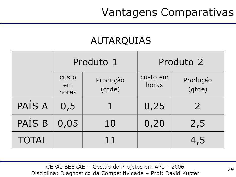 CEPAL-SEBRAE – Gestão de Projetos em APL – 2006 Disciplina: Diagnóstico da Competitividade – Prof: David Kupfer 28 Vantagens Comparativas Produto 1Pro