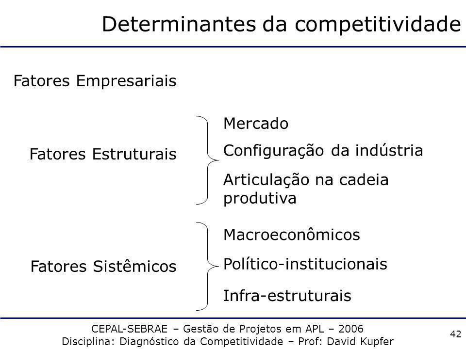 CEPAL-SEBRAE – Gestão de Projetos em APL – 2006 Disciplina: Diagnóstico da Competitividade – Prof: David Kupfer 41 Competitividade Estrutural