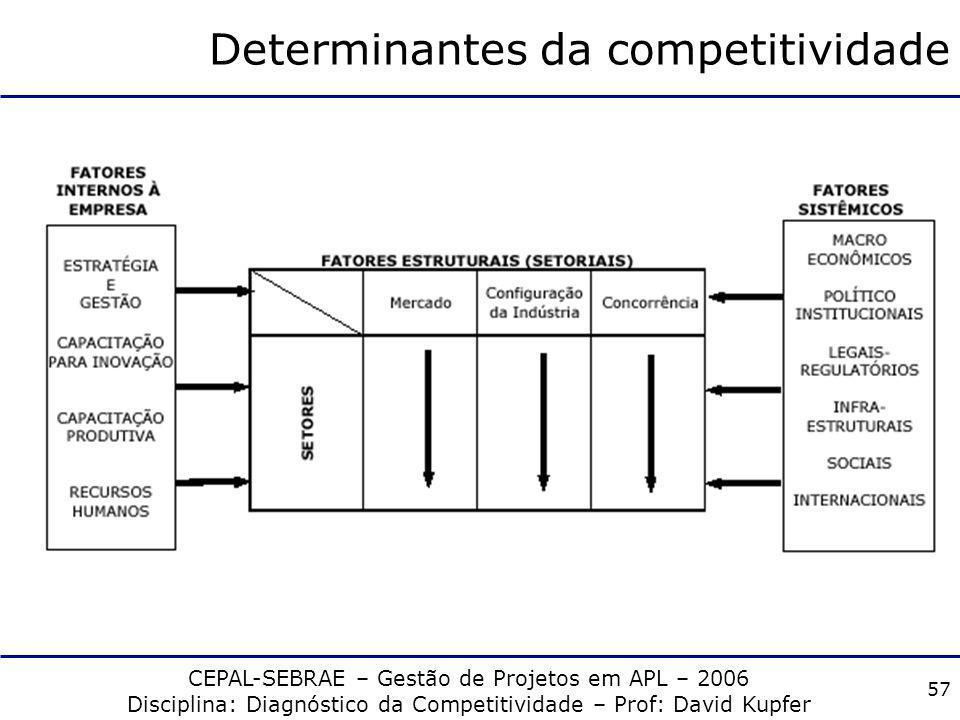 CEPAL-SEBRAE – Gestão de Projetos em APL – 2006 Disciplina: Diagnóstico da Competitividade – Prof: David Kupfer 56 Fatores Sistêmicos Determinantes in