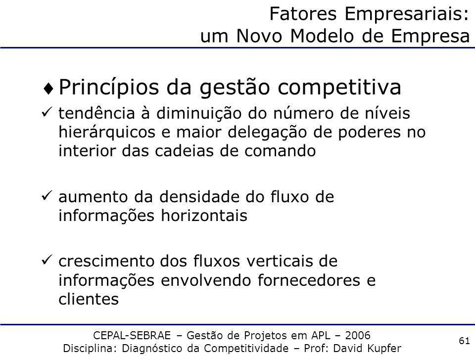 CEPAL-SEBRAE – Gestão de Projetos em APL – 2006 Disciplina: Diagnóstico da Competitividade – Prof: David Kupfer 60 III. Padrões de concorrência e comp