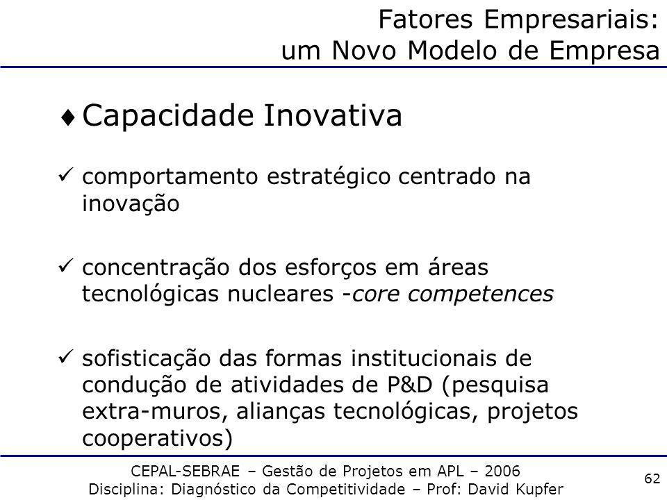 CEPAL-SEBRAE – Gestão de Projetos em APL – 2006 Disciplina: Diagnóstico da Competitividade – Prof: David Kupfer 61 Fatores Empresariais: um Novo Model