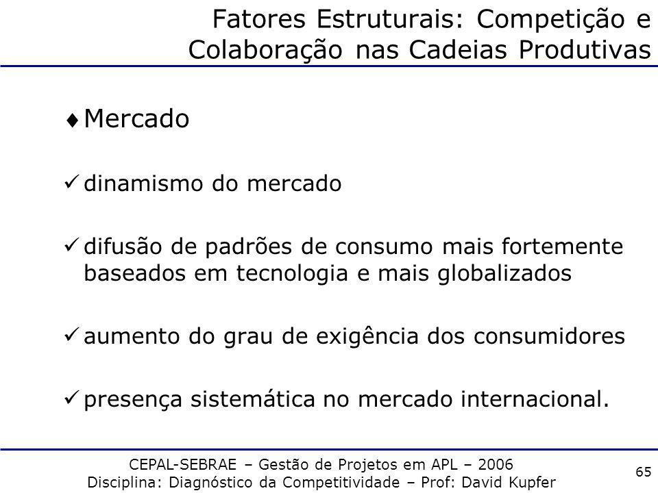 CEPAL-SEBRAE – Gestão de Projetos em APL – 2006 Disciplina: Diagnóstico da Competitividade – Prof: David Kupfer 64 Fatores Empresariais: um Novo Model