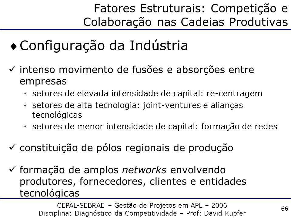 CEPAL-SEBRAE – Gestão de Projetos em APL – 2006 Disciplina: Diagnóstico da Competitividade – Prof: David Kupfer 65 Fatores Estruturais: Competição e C
